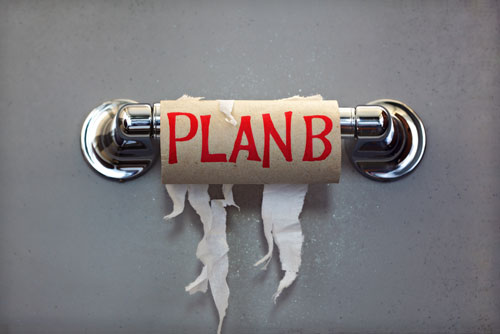 Toilet Paper Alternatives, empty roll with Plan B written