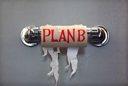 Toilet Paper Alternatives, empty roll with Plan B written