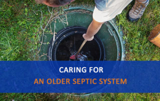 Man opening septic tank cover, Caring for an Older Septic System